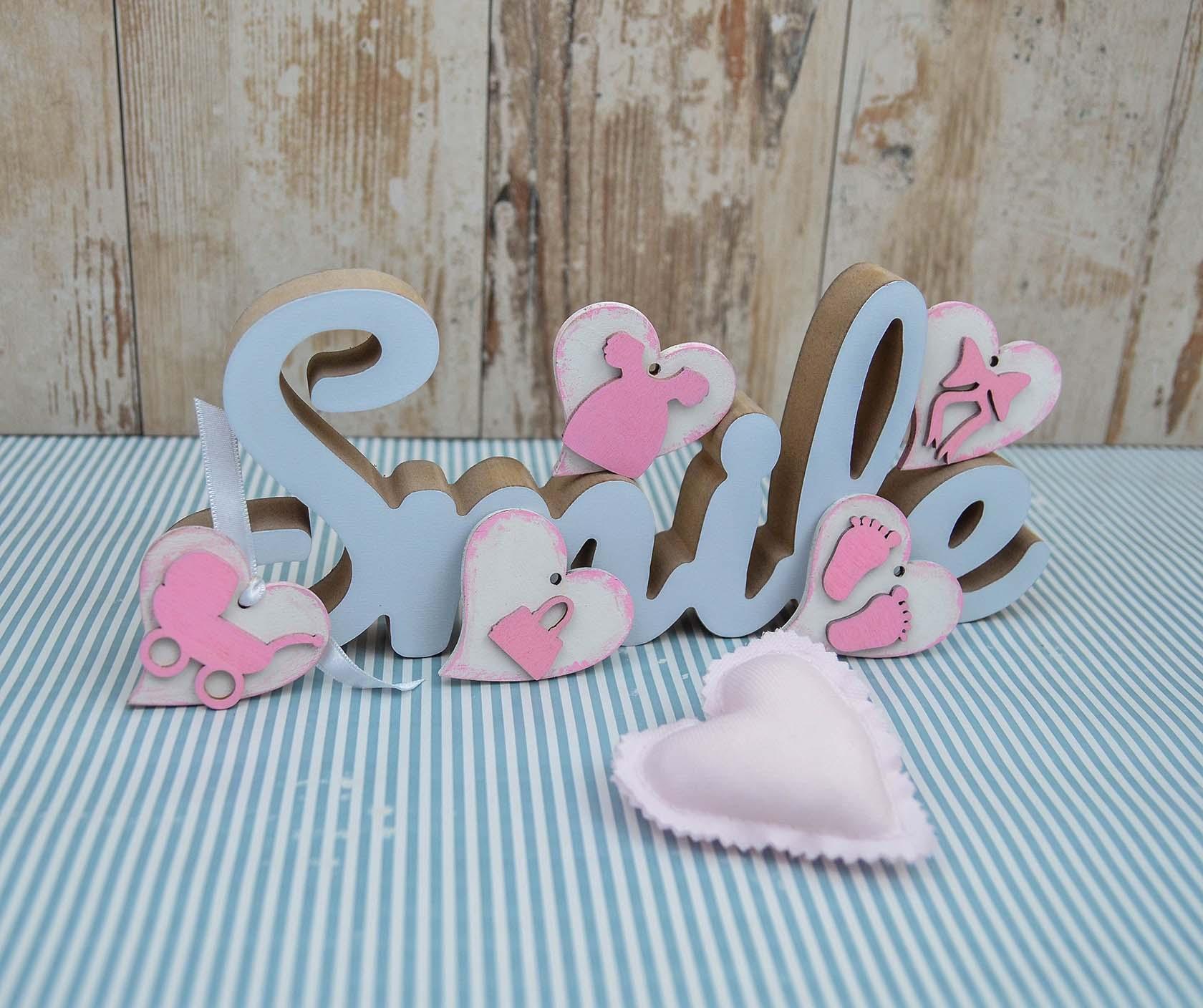 Marturii Botez Lemn Vintage Pink Le Petit Atelier Handmade Cu